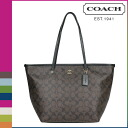 Coach COACH Womens Tote Bag F34104 Brown x black taxi signature Street zip Tote [3 / 2 new in stock] regular outlet ★ ★