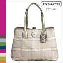 Coach COACH Tote multicolor striped Plaid framed carryall women's