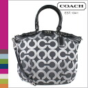 Coach COACH tote bag 2-Way gunmetal / black Madison op art metallic outline Lindsey satchel ladies
