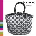 Coach COACH tote bag 2-Way gunmetal / black Madison op art metallic outline Lindsey satchel ladies