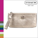 Coach COACH clutch bag bronze leather Madison leather zip