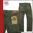 Point double double are L RRL DOUBLE RL Ralph Lauren denim jeans men straight damage processing jeans 2014 arrival khaki [8/5 Shinnyu load] [regular]★★