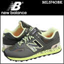 New Balance new balance ML574OBK sneakers D Wise leather X mesh men black [2/14 Shinnyu load] [regular]