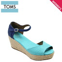 TOMS SHOES Toms shoes women's VEGAN WOMEN's PLATFORM WEDGES [blue mix] vegans ウマンズ platform ウェッジーズ cotton Sandals Toms Toms shoes [4 / 9 new in stock] [regular] ★ ★