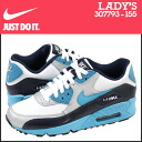 Point 2 x Nike NIKE kids AIR MAX 90 GS sneakers Air Max 90 girls Leather Womens kids Air Max 307793-155 WHITE/VVD BL blue [6 / 27 new in stock] [regular] 02P05July14