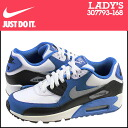 Point 2 x Nike NIKE women's AIR MAX 90 2007 GS sneakers Air Max 90 2007 girls leather kids ' Junior kids GIRLS 307793-168 WHT/HYPR CBLT blue [11 / 14 new stock] [regular] 02P30Nov14