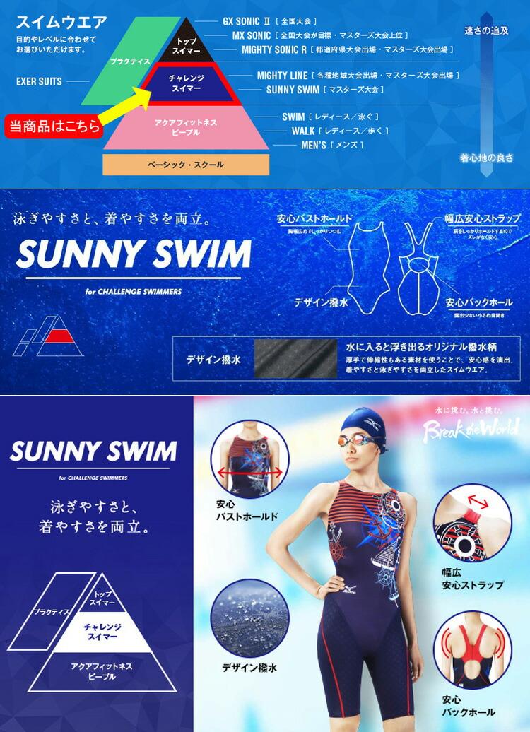 MIZUNO(ミズノ) レディース競泳用水着 サニースイム ハーフスーツ