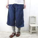 11 / 12 Till 14. DEEP BLUE deep blue (deepblue deep blue) sweet woven denim イージーガーデニング culotte-73596-1 di - pool-Bull - ladies