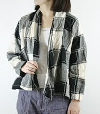 .73710 DEEP BLUE Deep Blue (deepblue Deep Blue) cotton hemp check drape shirt cardigan D - プ bulldog - Lady's