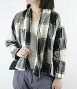 .73710 DEEP BLUE Deep Blue (deepblue Deep Blue) cotton hemp check drape shirt cardigan D - プ bulldog - lady's mail order