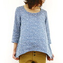 Slone square スロンスクエア linen floral print side down blouse-6572 ladies