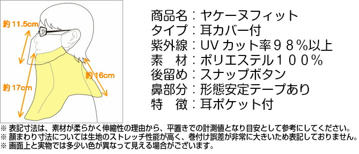 ヤケーヌフィット耳カバー付商品表記