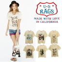 US RAGS ◆ short sleeve T shirt with Pocket print U neck ◆ T shirts Shirt Short Sleeve Tops uneven dye rough American casual