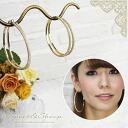 ラージゴールド hoop earrings with Rhinestone ◆ earrings, hoop earrings, rhinestone, gold, ladies /Sweet &Sheep