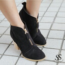 Real leather bootie with the 8cm Lady's Sweet & Sheep select ◆ zip with the bootie cowhide zip