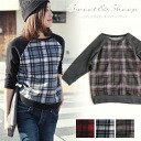 Tops check three-quarter sleeves Lady's Sweet & Sheep ◆ sweat shirt raglan sleeves check tops
