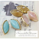 Drop almond-shaped ladies accessory accessories piercing big motif Teardrop oval pastel ladies Sweet &Sheep. ◆ natural stone pastel almond-shaped gold earrings