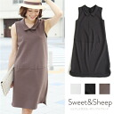 Sleeveless one piece with the one piece medium length utility clothes Shin pull adult Lady's Sweet & Sheep original ◆ collar