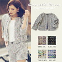 Outer jacket tweed no-collar Lady's Sweet & Sheep ◆ no-collar mixture tweed jacket