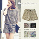 Short pants tweed きれいめ Lady's Sweet & Sheep ◆ mixture tweed dressy short pants in the spring and summer