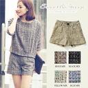 Short pants tweed きれいめ Lady's Sweet & Sheep ◆ mixture tweed dressy short pants in the spring and summer
