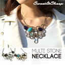 Necklace accessories multi-overswinging Lady's Sweet & Sheep select ◆ ring motif multi-stone necklace