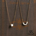 Accessories over Mignon スキンジュ Erie adult 6-grain ladies Sweet &Sheep select ◆ simple cotton Pearl style necklace