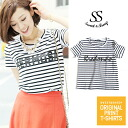 Cut-and-sew tops short sleeves stretch letter Lady's Sweet & Sheep original ◆ horizontal stripe logo T-shirt