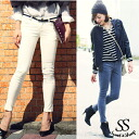 Bottoms stretch velour beauty leg looking thinner beauty line easy lady's Sweet & Sheep ◆ corduroy skinny pants