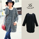 Beautiful coat outerwear order plain Tweed black gray women's Sweet &Sheep ◆ loop Tweed no color coat