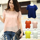 Beautiful chiffon short sleeved tops enhance blouses women's adult Womens Sweet &Sheep original ◆ chiffon short sleeved tops