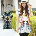 ' Beautiful ornate T shirts or printed flower 大buri flower because adult women's RITA select ◆ flower print t-shirt