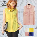 Tops tank top chiffon shirt Lady's Sweet & Sheep original ◆ no sleeve chiffon shirt blouse