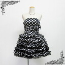 Polka dot mini dress (black x white) short dress perfect for the monotone ☆ 9-11 ☆ bicolor black and white bride dress ★ wedding! In the wedding party ★ aside rubber & back zipper in fit perfectly! Party dresses size