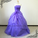Dress prom long gown ♪ ☆ one wear to recommend! Side rubber + back zipper ☆ neckline ruched flower fluffy dress ♪ into wedding ceremony and presentation! Purple 5, -7, no. 52002pa-2