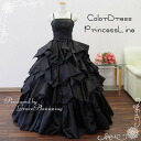 Waist Ribbon ♪ shoulder tied adult dress ★ Princess line / long dress ★ 9-10776 11 ★ (black / black)