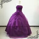 Dress strapless purple back lace-up neckline ruched ♪ flower corsage soft organza ★ 5 ~ 7 ★ 217