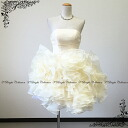 Organza frills are fluffy Cute ♪ back lace-up miniweddingdo Les ★ medium-length and minidress ★-7 ~ 9 ★ (ivory) 51076-b