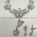 (New) necklace and earrings 2 points set women's classy flower motif (ns0260) nonstandard-size shipping-friendly