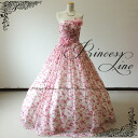 Chest flower corsage ♪ rose print colored racesless ★ A-line ★ 7 ★ (pink X floral design rose pink) 30137