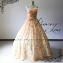 Atmosphere with or without dress prom long gown ★ Pannier dress line ★ pretty pale orange floral dress is no. 7, no. 9 and no. 11 back zipper 92012 fk