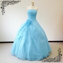 The dress light blue light blue long Princess lines 11-13, 13-15, ★ wedding wedding or Conference! Bustier-type flower corsage dress ★ back rubber lace organza 127 fk big large texture sizes sale
