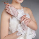 "Fingerless gloves short race ""off white"" petals Ribbon Bridal Accessories GL071131ow"