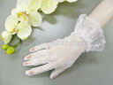 Wedding gloves short floral lace white GL071209w
