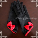 Ribbon short gloves, black» black red ◆ wedding gloves ◆ GL071232bk-t