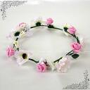 Corolla flower DIAdem wouldnt (dc01643-1) pink wedding flower crowns flower motif ornament headdress accessory Pink White