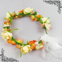 Corolla flower Crown (dc 01664) Orange series wristlet with flower crowns with Ribbon flower motif ornament headdress accessory White Pearl luxury wedding wedding