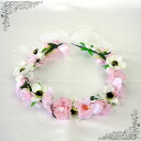 Corolla flower Crown (dc 01662) pink series bracelet with wedding flower crowns flower motif ornament headdress accessory white