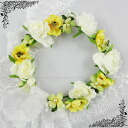 Corolla flower Crown (dc 01664) yellow series wristlet with flower crowns with Ribbon flower motif ornament headdress accessory White Pearl luxury wedding wedding