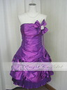 ♪ hem pleated skirt ★ party dress ★ minidress ★( purple) wedding ceremony * size designation * 01758 with the size order rhinestone corsage